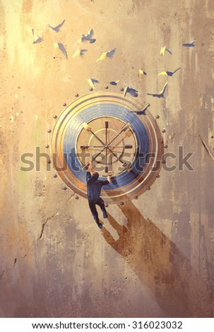 man climbing on stone wall trying to open safe,illustration painting - stock photo