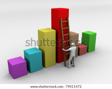 Man Climbing up the diagram symbol - 4d illustration