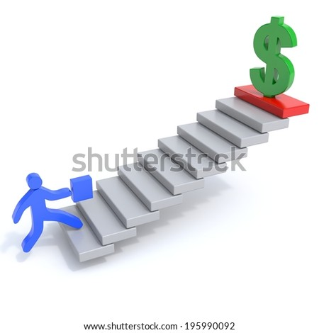 man climbs the stairs behind the money