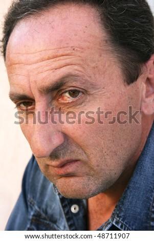 Man close up portrait. - stock photo