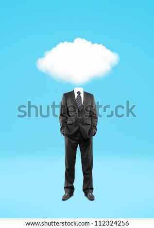 man cloud  head on blue background - stock photo