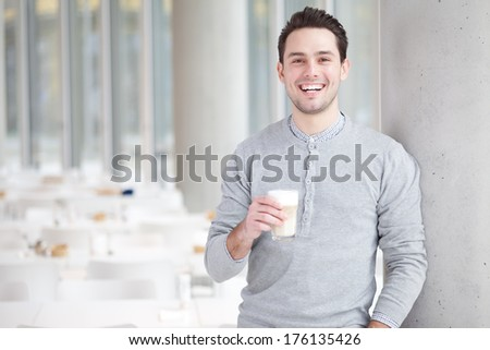 man coffee tablet - stock photo