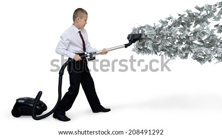 man collects money Vacuum - stock photo