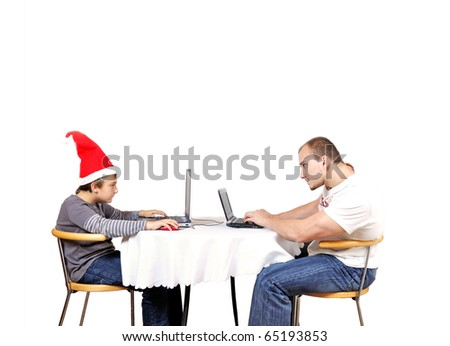Man compete with child in online game - stock photo