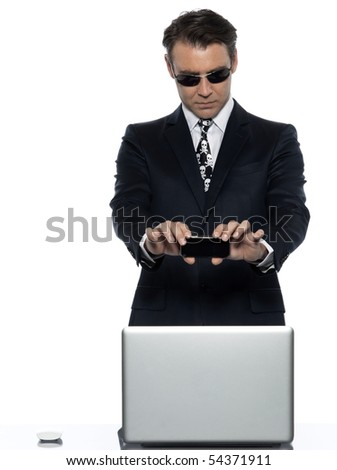 man computer pirate caucasian in studio isolated on white background - stock photo