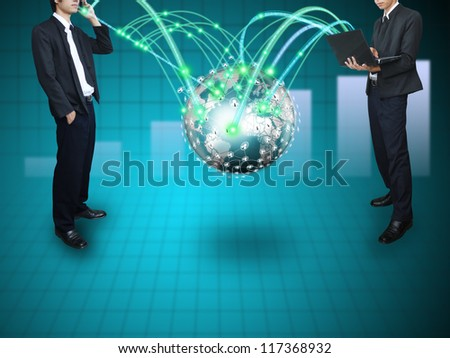 Man connect network - stock photo