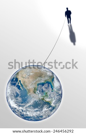 Man connected with the world - concept image. Photo composition with image from NASA Conceptual image expressing the sense of the strong bond between man and Earth.  - stock photo