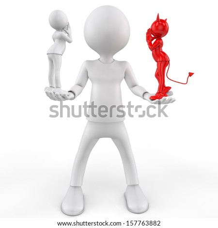 man contemplating a decision while an angel whispers in one ear, and a devil-whispers in the other. - stock photo