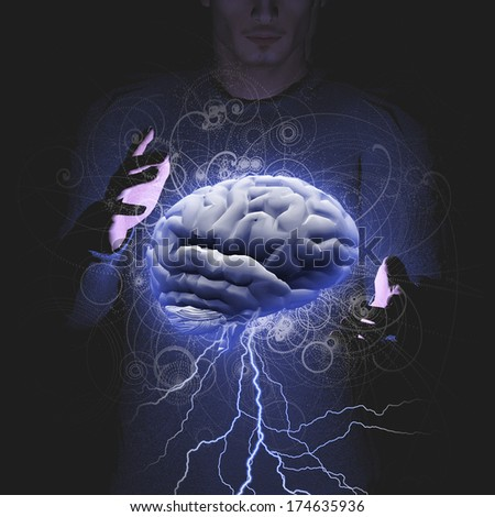 Man controls brain storm - stock photo