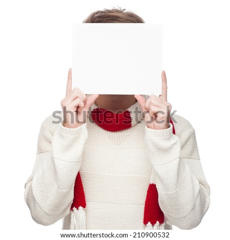 man cover his face with sign isolated on white