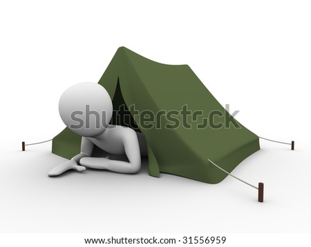 man crawling out from the tent - stock photo