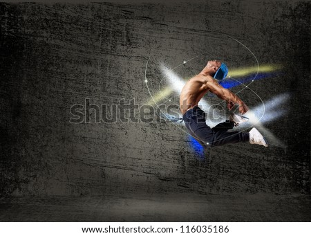 man dancing hip-hop, collage - stock photo