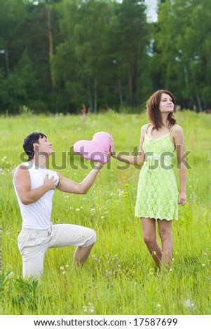 man declaration of love for woman - stock photo