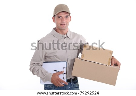 Man delivering a package - stock photo