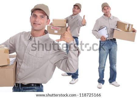 Man delivering parcels - stock photo
