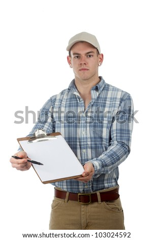 man delivery guy with clip board - stock photo