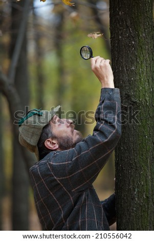 Man detective with a beard wearing a cap and plaid jacket examines through magnifying glass single dry leaf on horizontal tree trunk