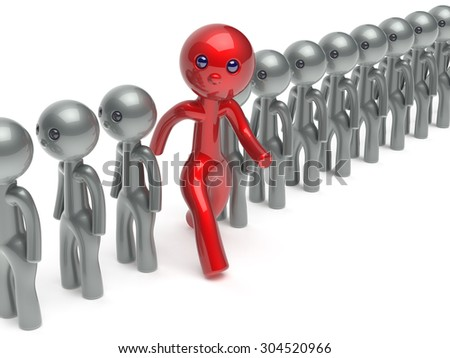 Man different stand out from the crowd individuality character people red think differ unique person otherwise run to new opportunities concept referendum vote icon 3d render isolated - stock photo