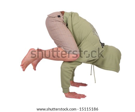 man does handstand - stock photo