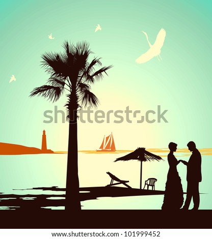 Man does offer the woman on the bank of tropical island - stock photo