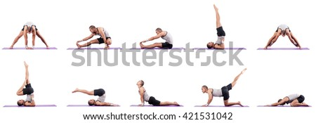 Man doing exercises on white - stock photo