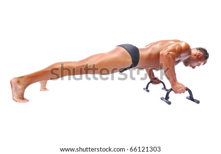 Man doing push-ups, isolated