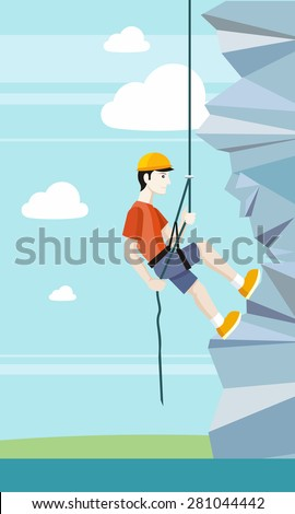Man doing rock climbing. Young boy climber climbs up the cliff with a rope and accessories for climbers. Web banners, marketing and promotional materials, presentation templates. Raster version  - stock photo