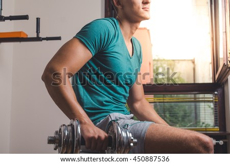Man doing weight training