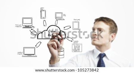 man draw cloud computing diagram - stock photo
