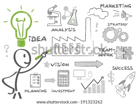 Man drawing Business Doodle. Keywords and icons - stock photo