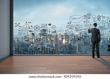 Man drawing business scheme on large window in office interior. 3D Rendering - stock photo