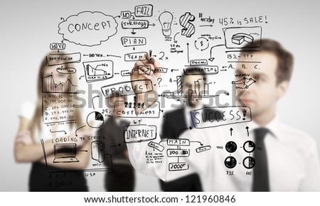 man drawing global business concept - stock photo
