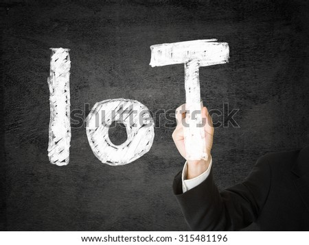 Man drawing IoT (internet of things) text on transparent screen over black background - stock photo
