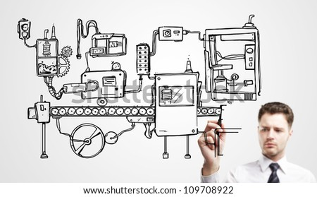 man drawing mechanism on a white background - stock photo