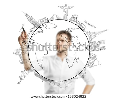 man drawing travel on a blue background