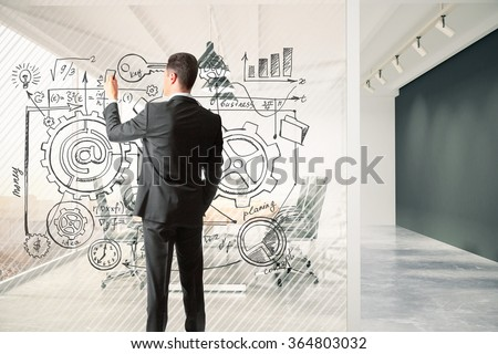 Man draws business plan on a glass partition in the meeting room, business concept 3D Render - stock photo