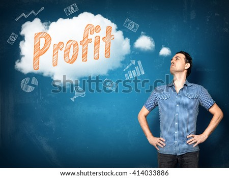 Man dreaming of making a good profit in business - stock photo