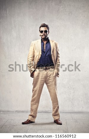 Man dressed as a gangster - stock photo