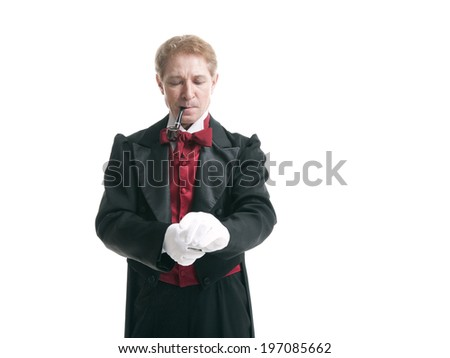 man dressed as a magician smoking a pipe on a white background