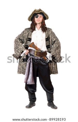 Man dressed as pirate. Isolated on white - stock photo
