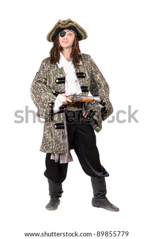 Man dressed as pirate with a pistol in hand