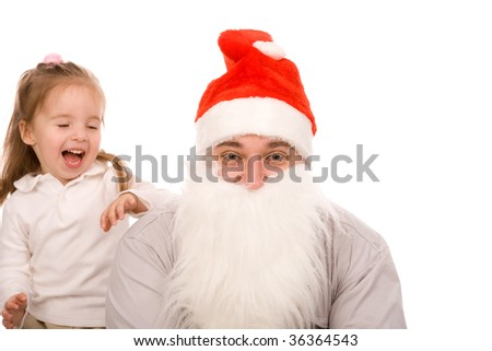 man dressed as Santa Claus with laughing girl