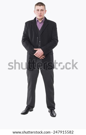 man dressed in full length isolated on white background
