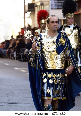Man dressed up as a Roman Emperor during reenactment of Biblical times - stock photo