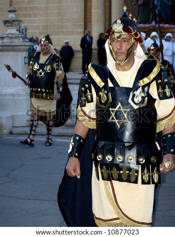 Man dressed up as a soldier of Herod during Biblical times