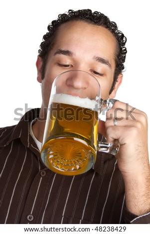 Man Drinking Beer - stock photo