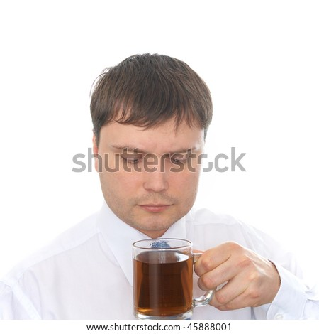 Man drinking tea. Isolated on white