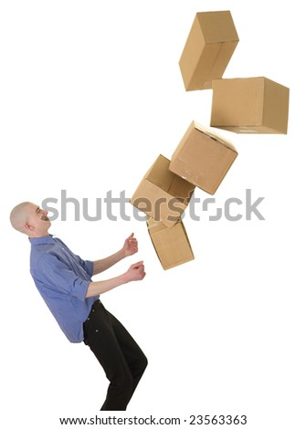 Man drops boxes on a white background - stock photo