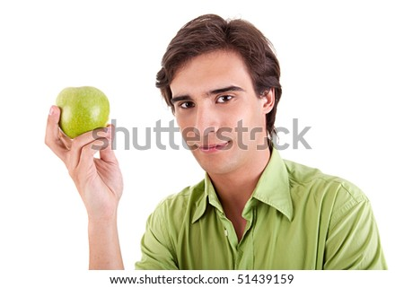 man eating a green apple, isolated on white background - stock photo