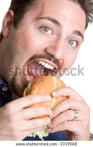 Man Eating Burger - stock photo